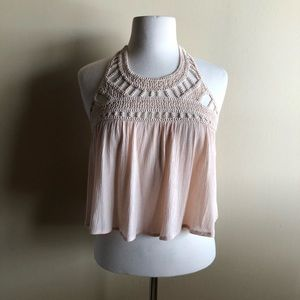 Tobi Tops - Tobi blush pink crochet halter crop top